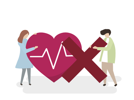 Illustration of people with an unhealthy heart
