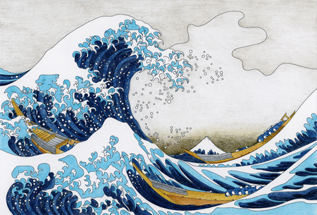 Pagina da colorare per adulti di La grande ondata di Kanagawa di Hokusai