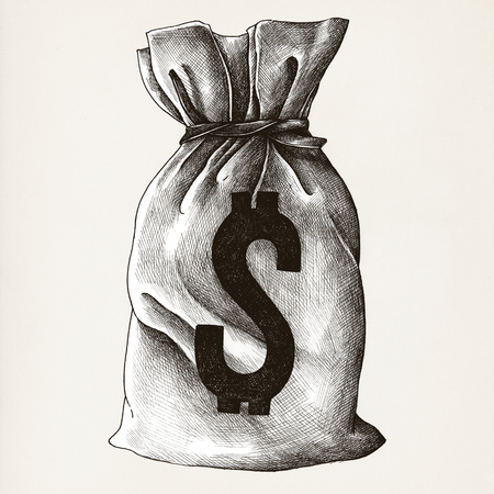 Sack of money vintage style illustration
