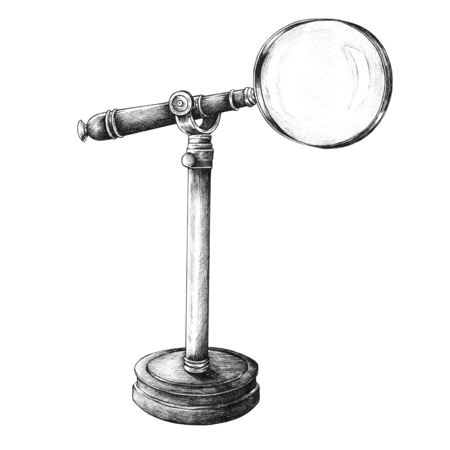 Hand drawn magnifier isolated on background