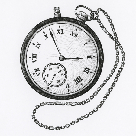 Hand drawn pocket watch isolated on background Banco de Imagens