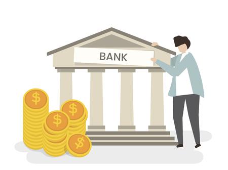 Illustration of a man at the bank