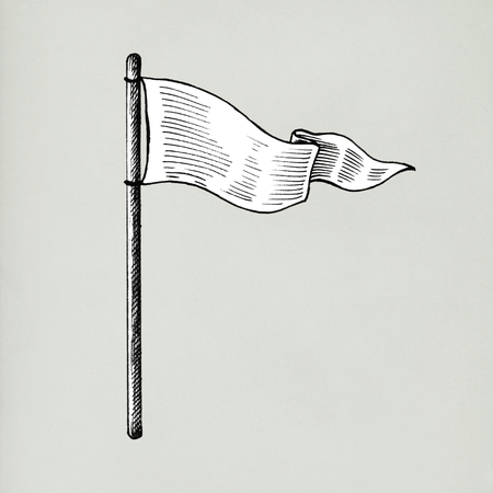 Hand drawn white flag isolated on background