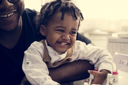 Cheerful little kid in a hospital Banco de Imagens