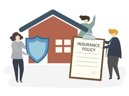 Illustration of people with insurance policy