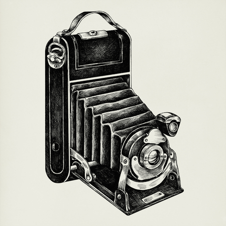 Hand drawn retro camera isolated on background