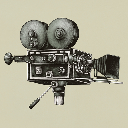 Video camera vintage style illustration
