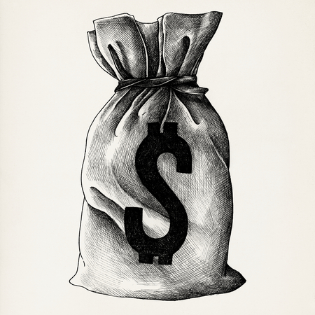Hand drawn cash bag isolated on background