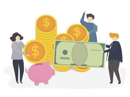 Illustration of people with money