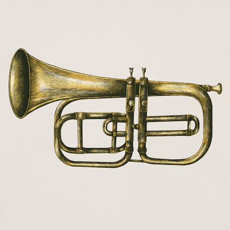 Brass trumpet vintage style illustration