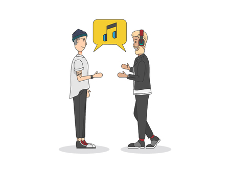 Two men talking about music Stock Photo