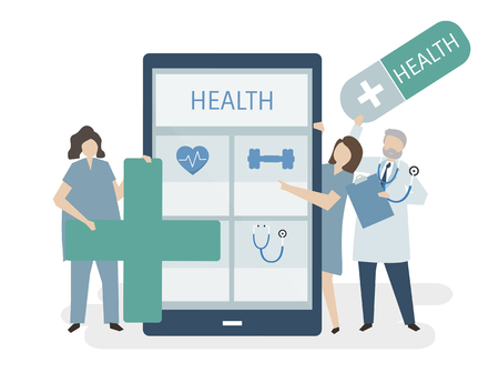 Illustration of people with health care Stock Photo