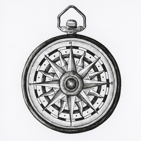 Hand drawn compass isolated on background Фото со стока
