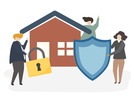 Illustration of a house insurance