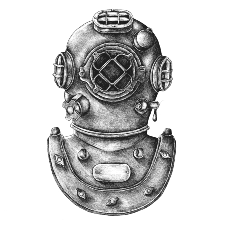 Diving gear vintage style illustration Banque d'images - 110131410