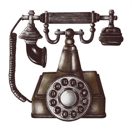 Old phone vintage style illustration Stok Fotoğraf - 110131424
