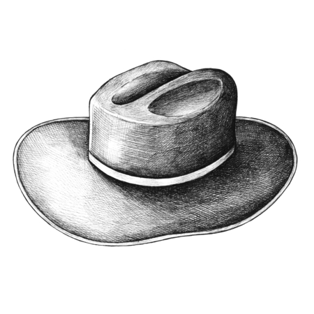 Hnad drawn sun hat isolated on background Banco de Imagens