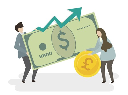 Illustration of people with money Banque d'images - 111123829