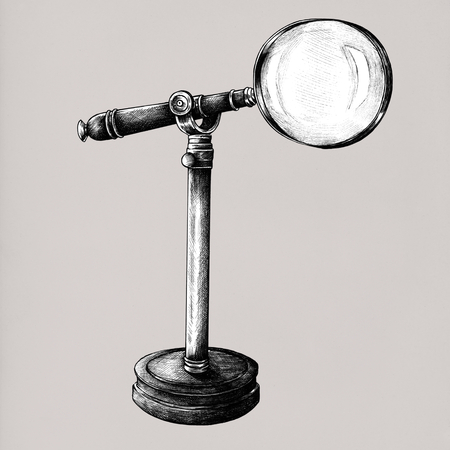 Hand drawn magnifier isolated on background Stok Fotoğraf - 110131628