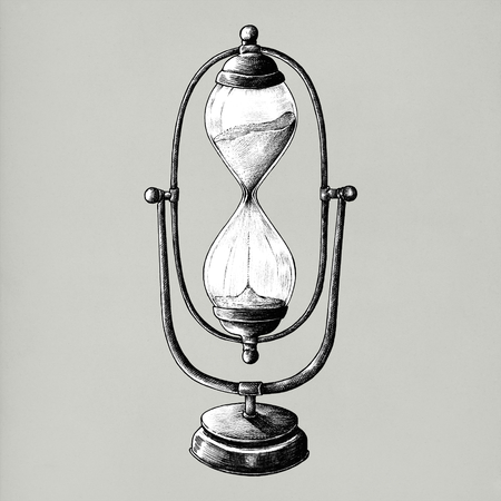 Hand drawn sandglass isolated on background