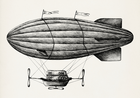 Hand drawn airship isolated on background Stock fotó - 111123905