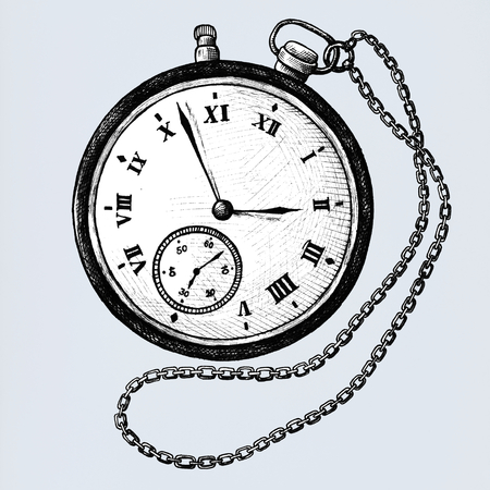 Reloj de bolsillo dibujado a mano aislado sobre fondo