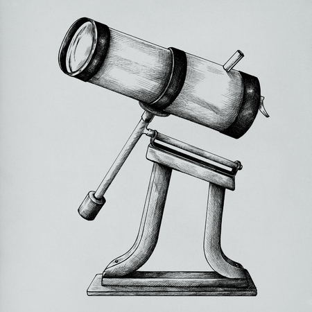 Hand drawn telescope isolated on background 版權商用圖片
