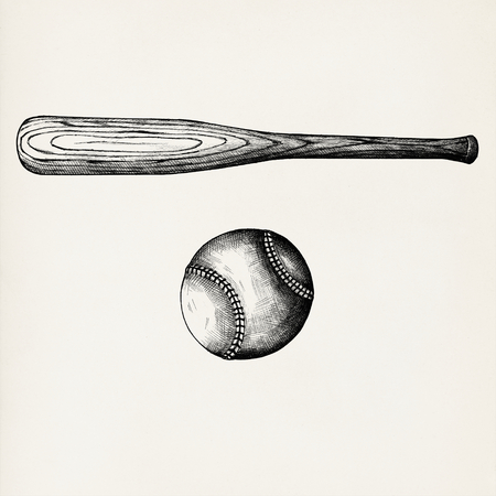 Hand drawn baseball bat and ball isolated on background Reklamní fotografie