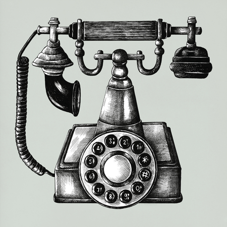 Hand drawn retro line telephone isolated on background Stock fotó