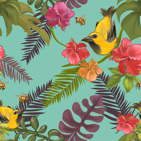 Illustration of tropical birds and plants Banco de Imagens
