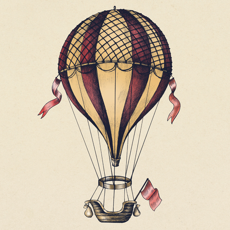 Hot air balloon vintage style illustration Standard-Bild - 111124246