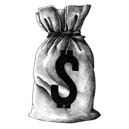 Sack of money vintage style illustration