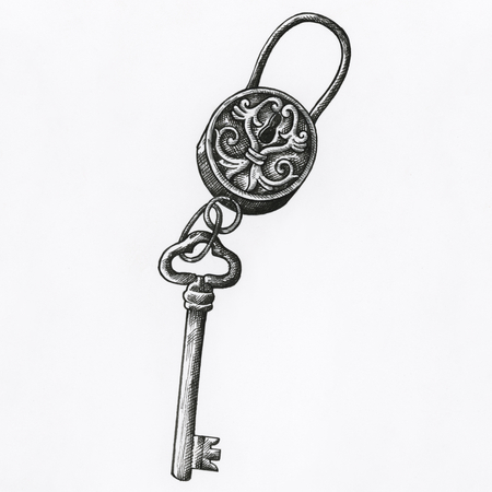 Hand drawn key isolated on background Archivio Fotografico - 111124407