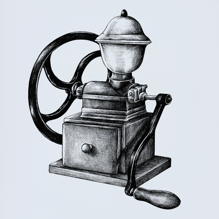 Hand drawn retro coffee grinder isolated on background Banco de Imagens - 111124451