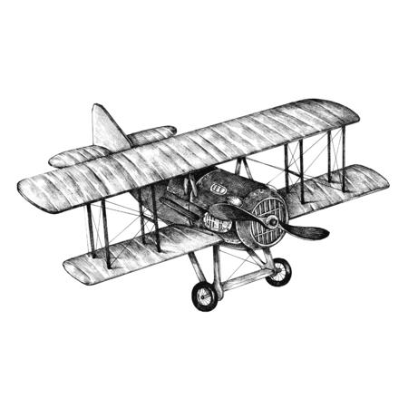 Aereo ATR disegnato a mano isolato su sfondo Archivio Fotografico
