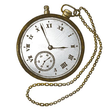 Pocket watch vintage style illustration Standard-Bild - 111124468