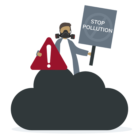Person with stop pollution sign