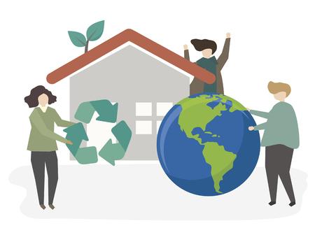 Ilustración de personas sostenibles.