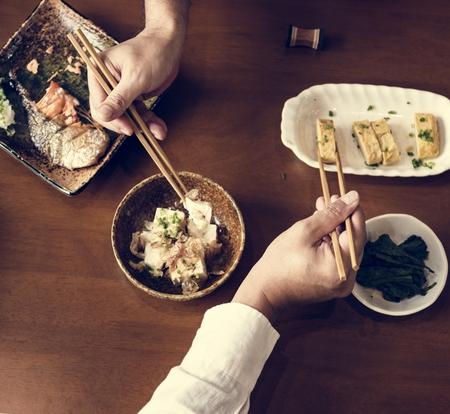 Japanese food set on the table 版權商用圖片