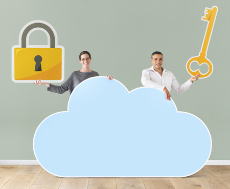 People holding cloud and security icons 스톡 콘텐츠