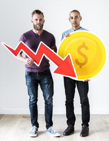 Two casual man holding business icon Stockfoto