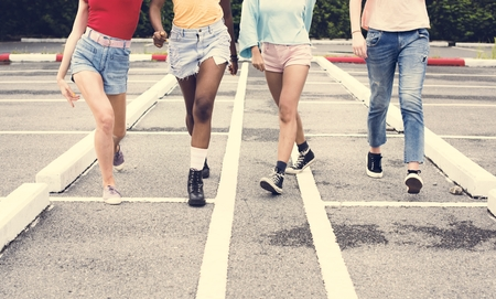 Group of diverse women walking together