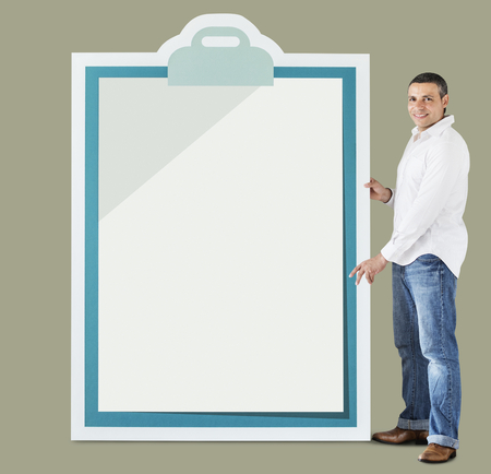 Man holding big clipboard mockup