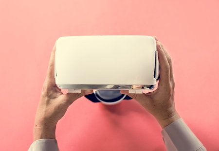 Hands holding VR isolated on background