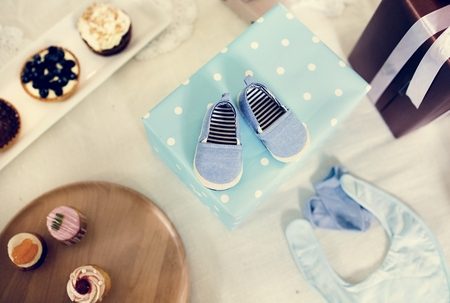 Close up of a pair of baby shoes