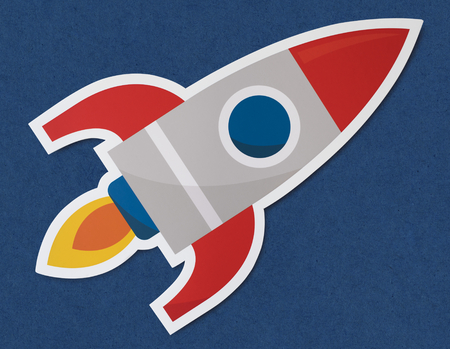 Rocket ship launching symbol icon