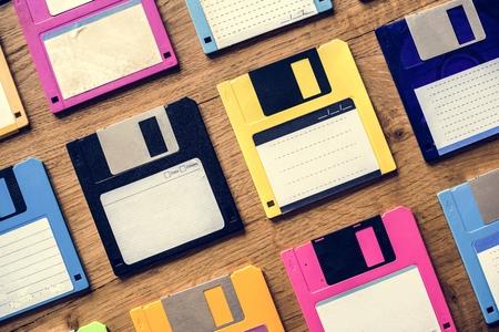 Old school floppy disk drive data storage 版權商用圖片