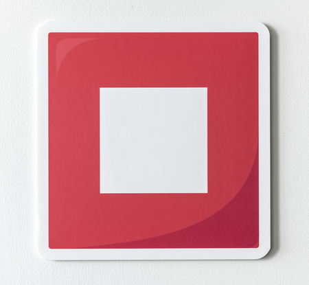 Red stop button music icon Standard-Bild - 109568326