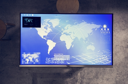 Cyber space table with a world map on screen 스톡 콘텐츠