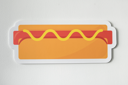 Icon of a hot dog with mustard Imagens